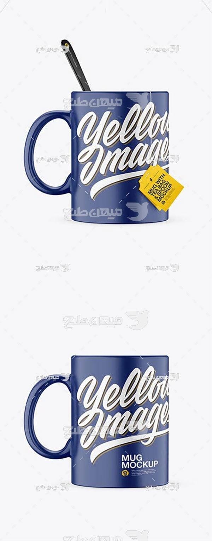 موکاپ چای تیبگ و لیوان