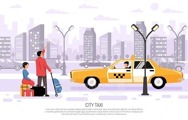 وکتور کاراکتر مسافرت و تاکسی شهر