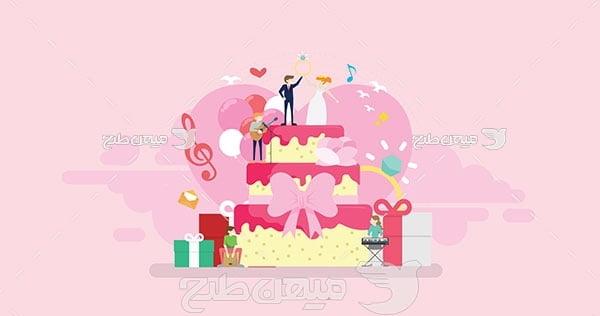 وکتور کیک عروسی