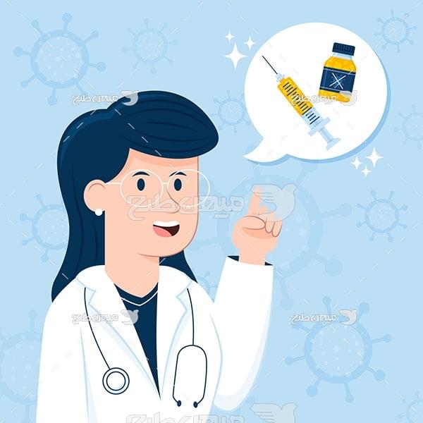 وکتور کادر درمانی کرونا ویروس