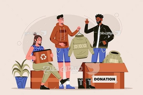 وکتور جمع آوری لباس اهدای
