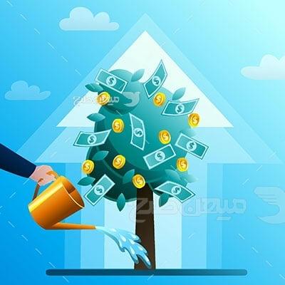 وکتور کاراکتر کارآفرینی و رشد مالی