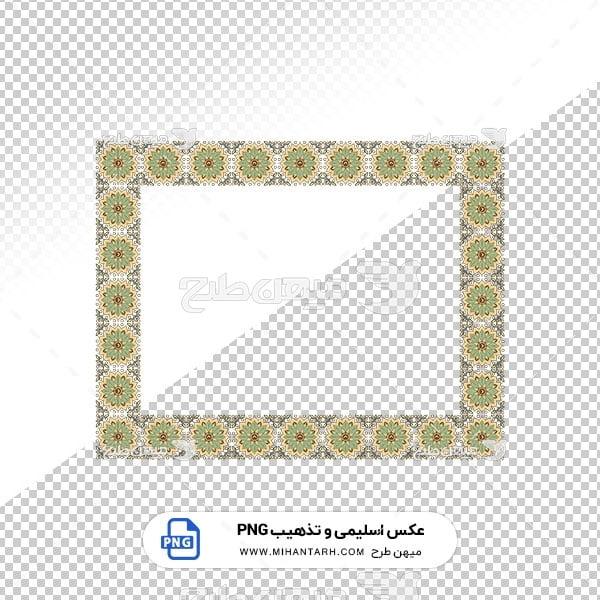 عکس برش خورده اسلیمی و تذهیب قاب با حاشیه گل گرد