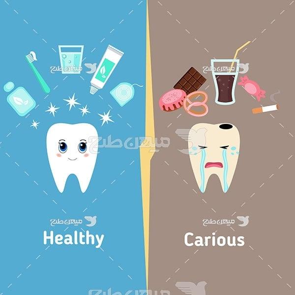 وکتور کاراکتر مقایسه دندان