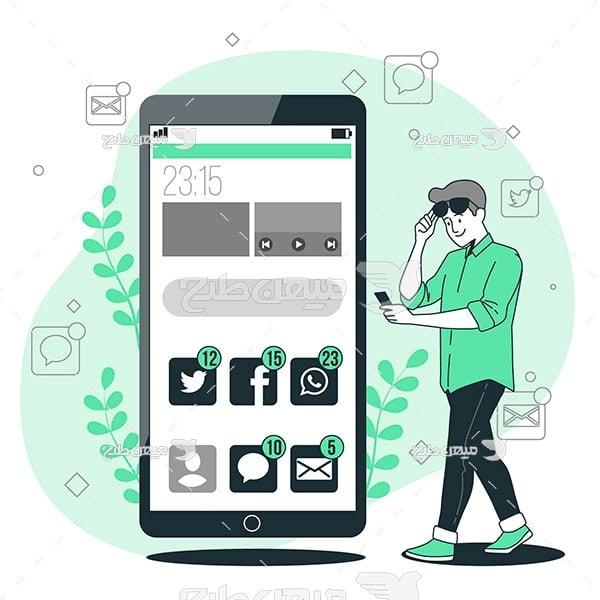 وکتور استفاده از شبکات اجتماعی