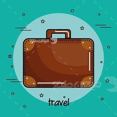 وکتور کاراکتر مسافرت با چمدان قهوه ای