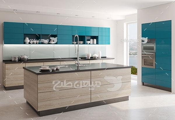 عکس نمای دکور آشپزخانه کابینت ام دی اف