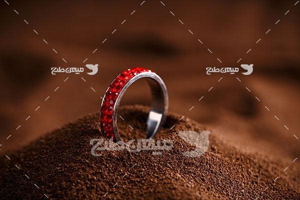 عکس حلقه نقره با روکش الماس قرمز