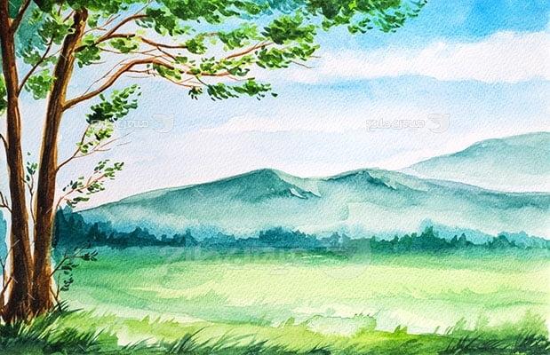 وکتور کاراکتر طبیعت و نقاشی چمنزار