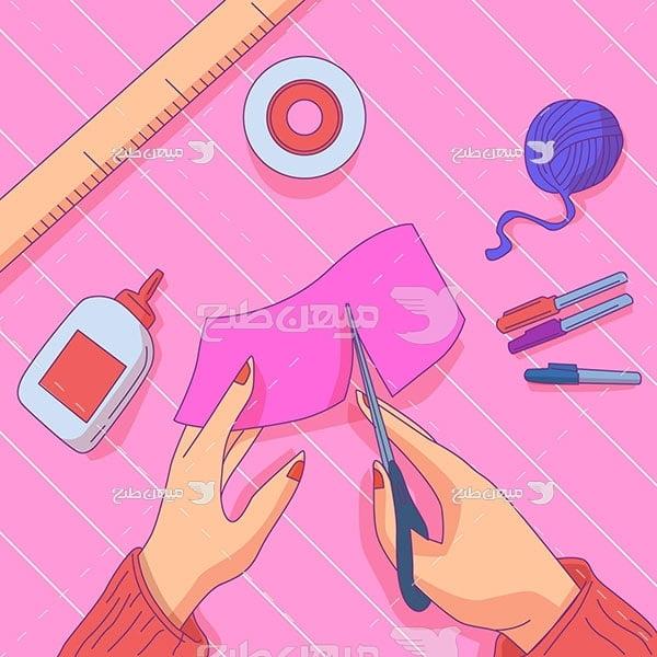 وکتور کار دستی با کاغذ رنگی