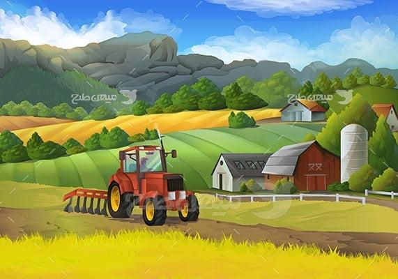 وکتور کاراکتر طبیعت مزرعه و تراکتور