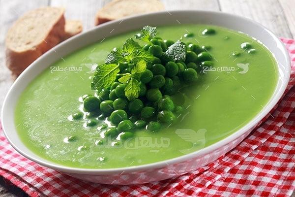 عکس تبلیغاتی غذا سوپ نخود فرنگی