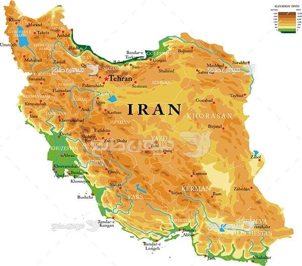 وکتور نقشه زمینی کشور ایران