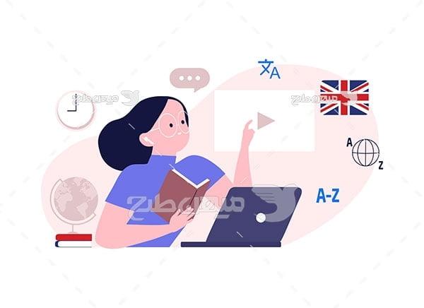 وکتور آموزش مجازی زبان