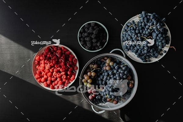 عکس میوه انگور و تمشک