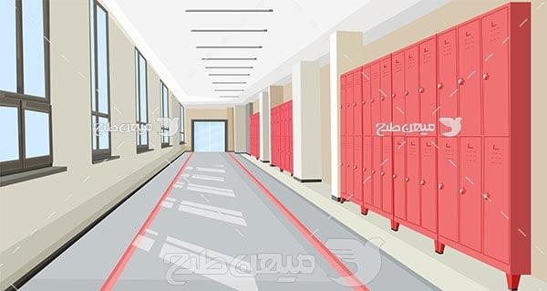 وکتور طرح داخل راهروی مدرسه