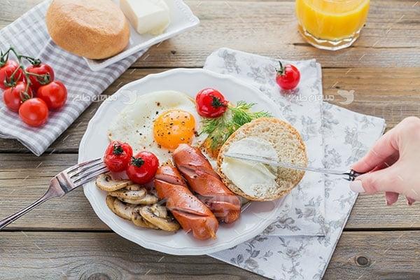 عکس تبلیغاتی غذا صبحانه مفصل