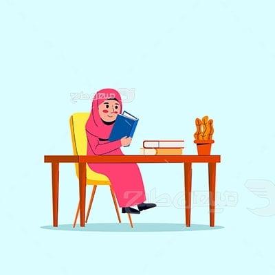 وکتور حجاب کتاب خواندن