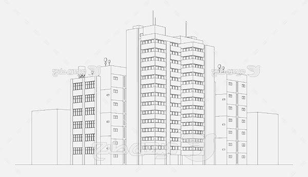 وکتور  نمای پرسپکتیو ساختمان
