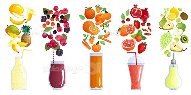 وکتور کاراکتر غذا آبمیوه مخلوط میوه ها
