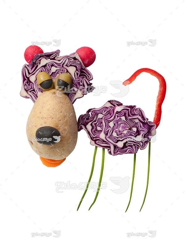 عکس شکل سگ با سبزیجات