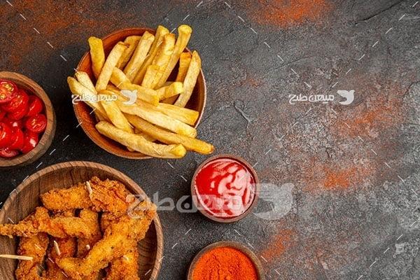 عکس مرغ سوخاری و سیب زمینی
