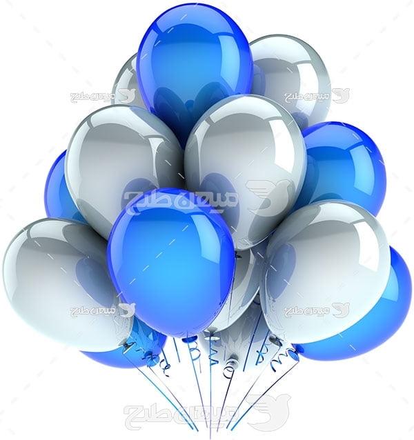 عکس تبلیغاتییک دسته بادکنک آبی و سفید