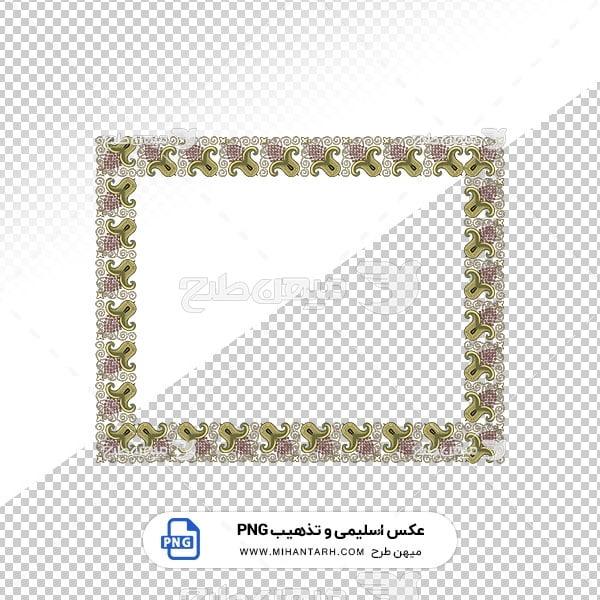 عکس برش خورده اسلیمی و تذهیب قاب با حاشیه گل بنفش
