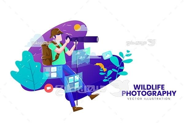 وکتور عکاس در حیاط وحش
