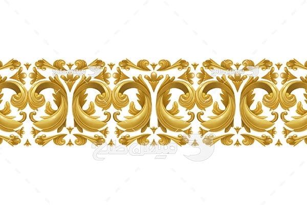 وکتور حاشیه اسلیمی و تذهیب طرح طلایی