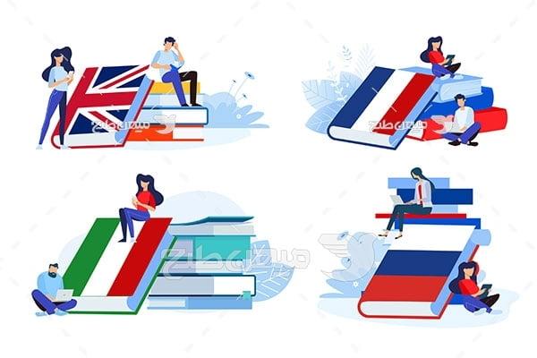 وکتور کتاب های آموزش زبان خارجی