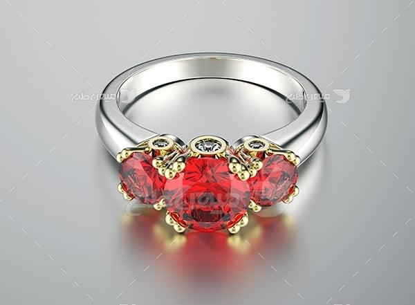 عکس انگشتر نقره با یاقوت سرخ