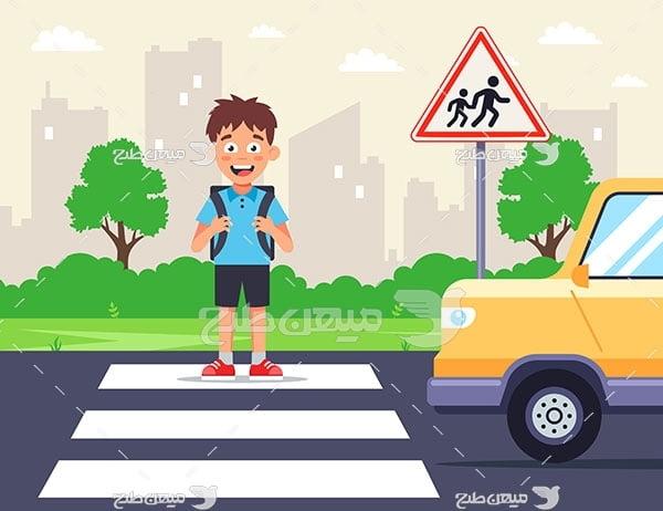 وکتور عبور دانش آموز  از خطر عابر پیاده
