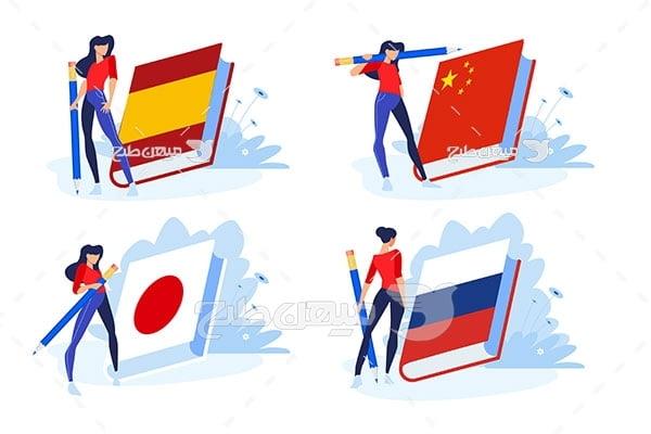 وکتور پرچم زبان های خارجی
