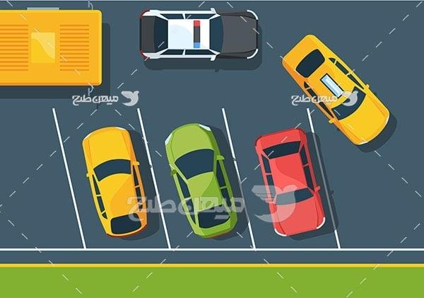 وکتور نمای بالا از پارکینگ عمومی پارک کردن خودرو ها