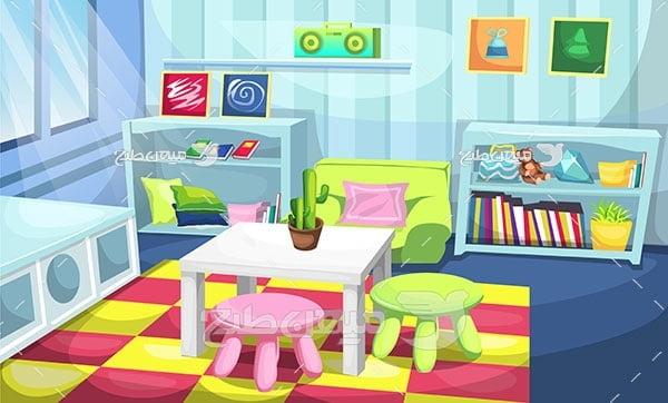 وکتور نمای  کارتونی داخلی خانه