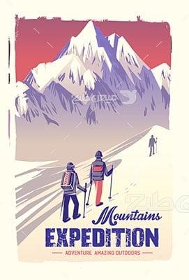 وکتور کاراکتر طبیعت و اسکی کوهستان
