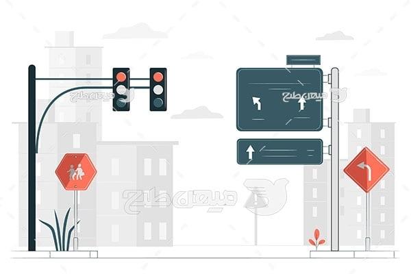 وکتور تقاطع و چراغ راهنمایی و رانندگی
