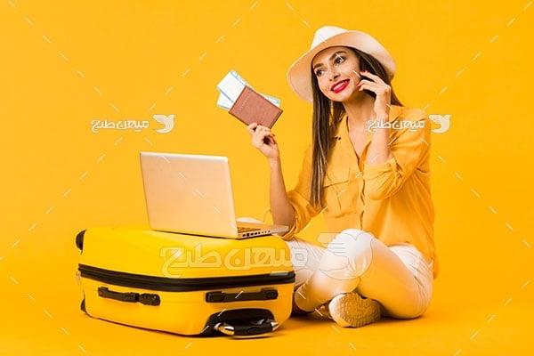 عکس زن مسافر