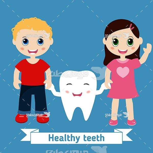 وکتور کاراکتر دختر و پسر و دندانپزشکی