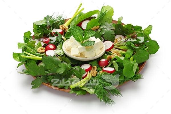 عکس پنیر و سبزی
