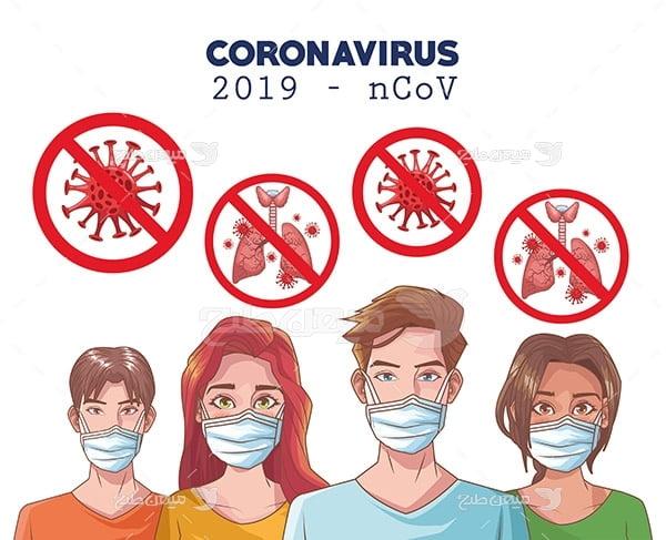 وکتور ماسک جهت پیشگیری از ویروس کرونا