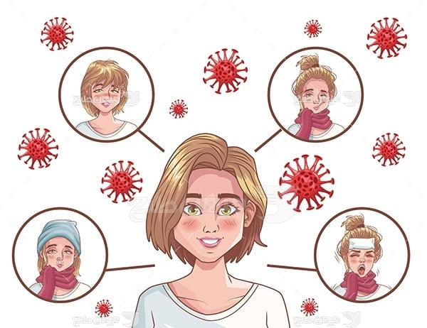 وکتور علائم مبتلا شدن به ویروس کرونا