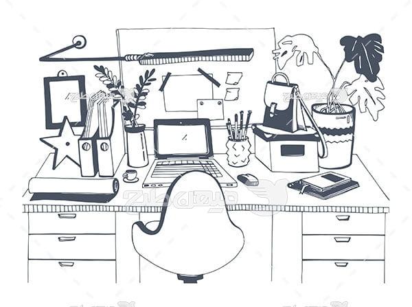 وکتور نقاشی اتاق کار