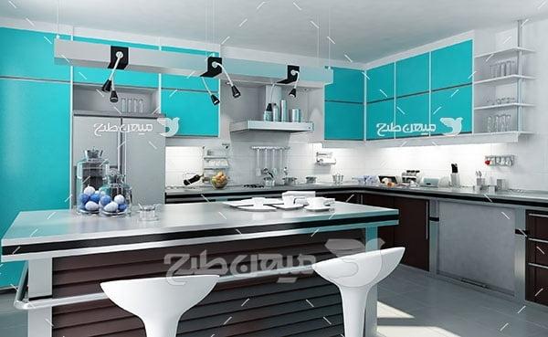 عکس نمای از آشپزخانه با کابینت سبزآبی