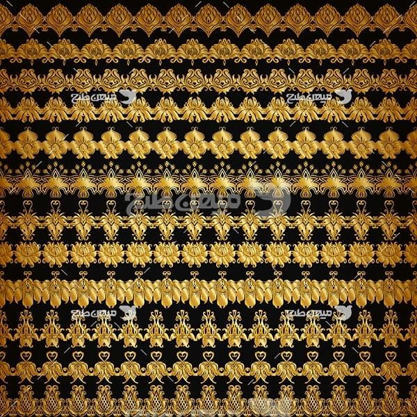 وکتور حاشیه اسلیمی و تذهیب ریز نقش طلایی
