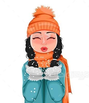 وکتور کاراکتر حجاب در زمستان