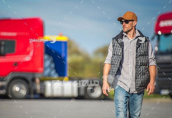 عکس راننده ماشین سنگین