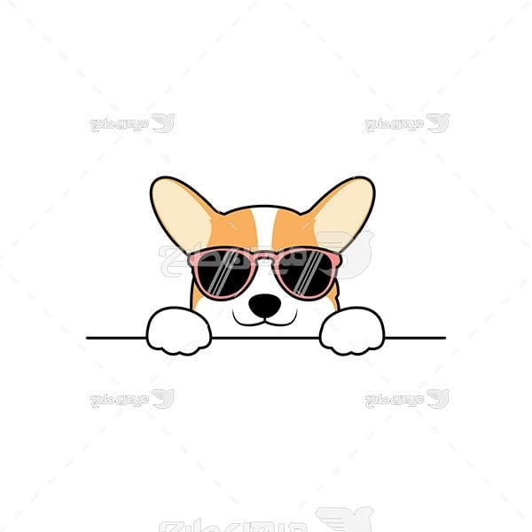 وکتور سگ با عینک آفتابی