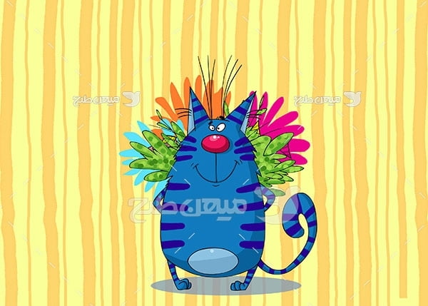 عکس گربه کارتونی آبی